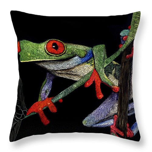 Frog Throw Pillow featuring the mixed media Red Eyed Tree Frog by Linda Hiller