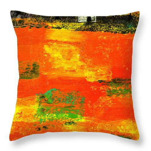 Rural Throw Pillow featuring the painting Red Fields by Wayne Potrafka