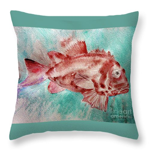 Fish Throw Pillow featuring the painting Red Fish by Jasna Dragun