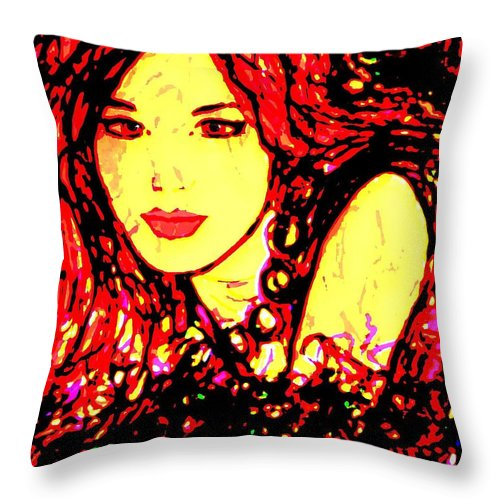 Woman Throw Pillow featuring the painting Red Flirt by Natalie Holland