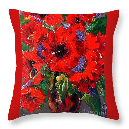 Red Throw Pillow featuring the painting Red Floral by Beverly Boulet