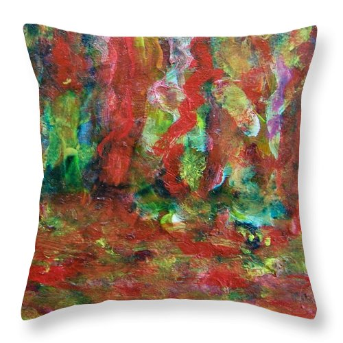 Abstract Throw Pillow featuring the painting Red Forest by Judith Redman