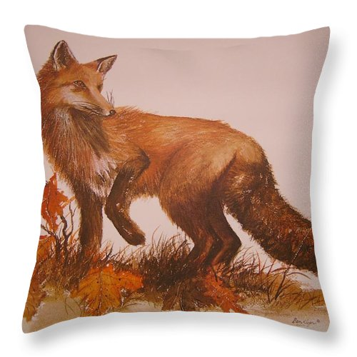 Nature Throw Pillow featuring the painting Red Fox by Ben Kiger