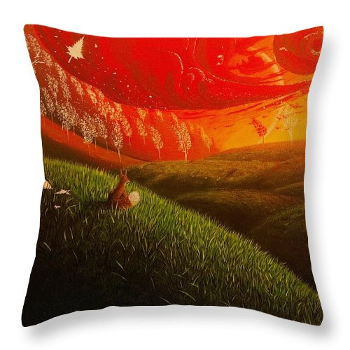 Realism Throw Pillow featuring the painting Red Fox..peaceful by Aldo Sifuentes