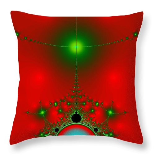 Fractal Throw Pillow featuring the digital art Red Fractal by Charmaine Zoe