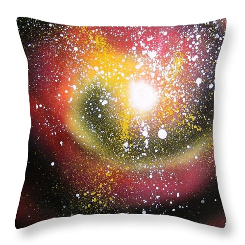 Spray Paint Art Throw Pillow featuring the painting Red Galaxy by Emily Cummings
