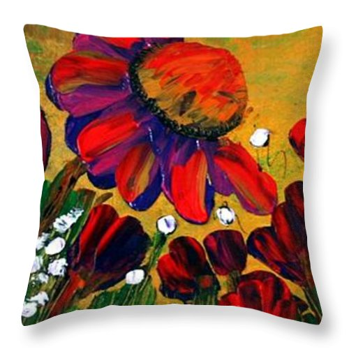 Flowers Throw Pillow featuring the painting Red Garden by Luiza Vizoli