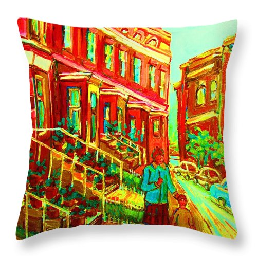 Geraniums Throw Pillow featuring the painting Red Geraniums by Carole Spandau