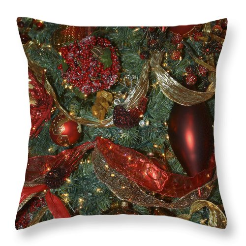 Christmas Throw Pillow featuring the photograph Red Gold Tree No 3 Fashions For Evergreens Event Hotel Roanoke 2009 by Teresa Mucha