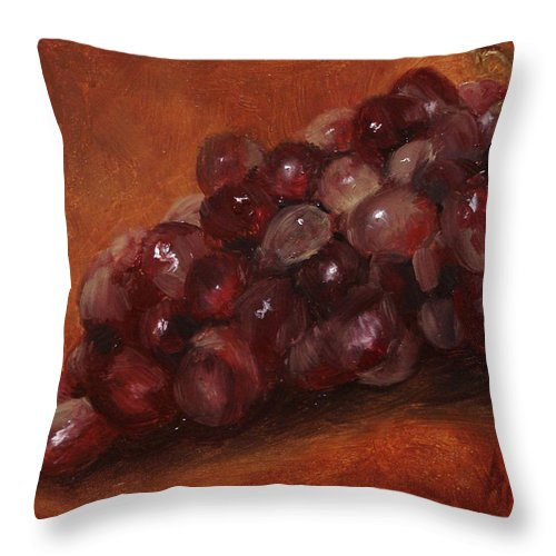 Fruit Throw Pillow featuring the painting Red Grapes by Barbara Andolsek