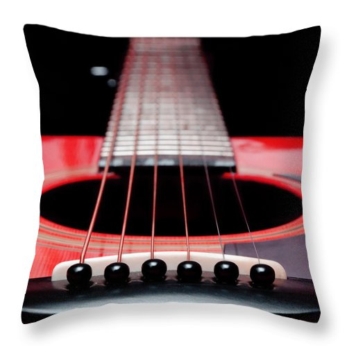 Andee Design Guitar Throw Pillow featuring the photograph Red Guitar 16 by Andee Design