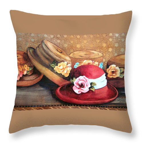Hat Throw Pillow featuring the painting Red Hat by Karen Stark