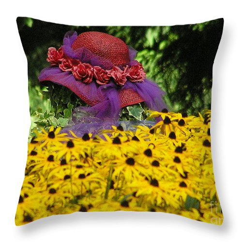 Red Hat Throw Pillow featuring the photograph Red Hat Parade by Louise Magno