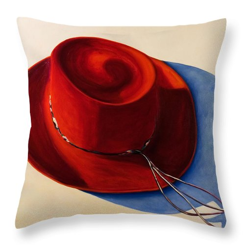 Red Hat Throw Pillow featuring the painting Red Hat by Shannon Grissom