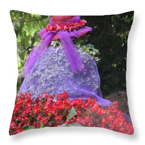 Red Hat Throw Pillow featuring the photograph Red Hat Veil by Louise Magno