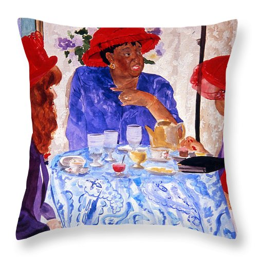 Red Hat Throw Pillow featuring the painting Red Hatters Chatter by Jean Blackmer