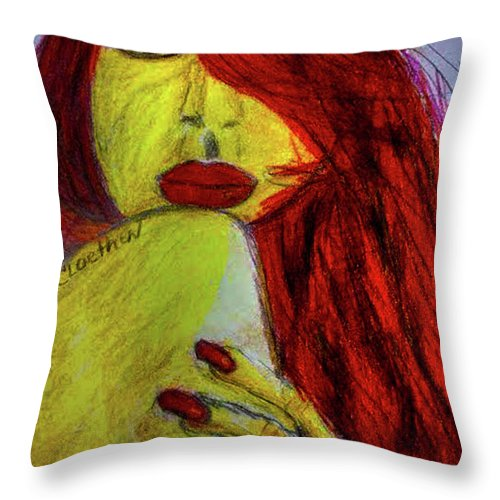 Mixed Media Throw Pillow featuring the mixed media Red Headed Step Child by Carol Loethen