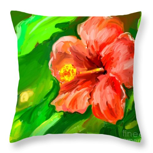 Red Hibiscus Throw Pillow featuring the painting Red Hibiscus by Brian Dahlen