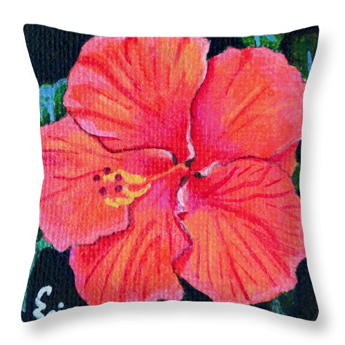 Red Throw Pillow featuring the painting Red Hibiscus by Christopher Spicer