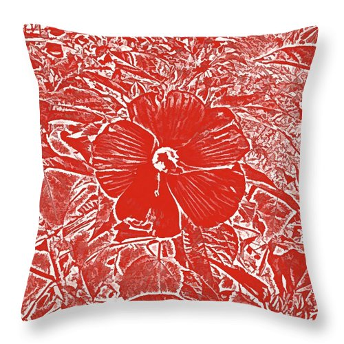 Red Hibiscus Decorative Pillow : Red Hibiscus Throw Pillow for Sale by Lillian Hibiscus