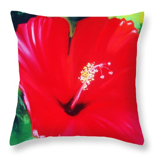 Bright Flower Throw Pillow featuring the painting Red Hibiscus by Melinda Etzold
