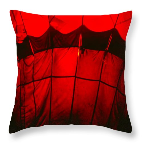 Balloon Throw Pillow featuring the photograph Red Hot Air Balloon by Thomas Marchessault