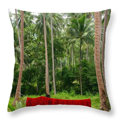 Palm Trees Throw Pillow featuring the photograph Red In The Jungle by Minaz Jantz