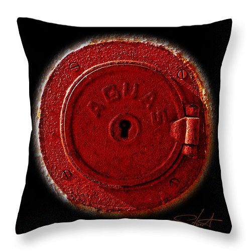 Manhole Throw Pillow featuring the photograph Red Lake by Charles Stuart