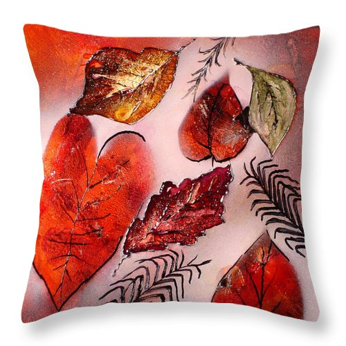 Leaf Throw Pillow featuring the painting Red Leaves by Susan Kubes
