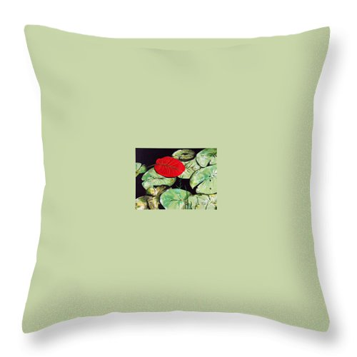 Red Throw Pillow featuring the painting Red Lily by Racquel Morgan