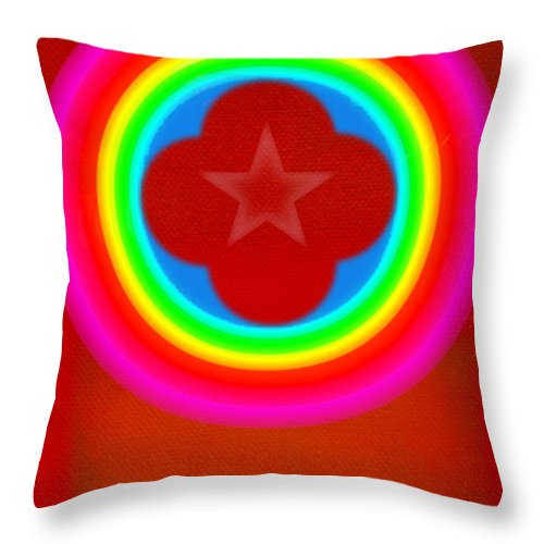 Landscape Throw Pillow featuring the painting Red Logo by Charles Stuart
