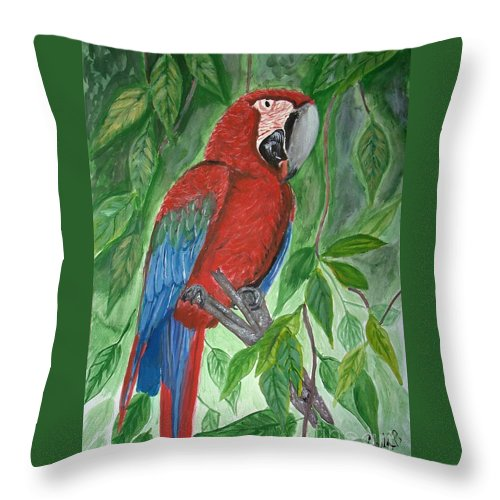 Macaw Throw Pillow featuring the painting Red Parrot by Cybele Chaves