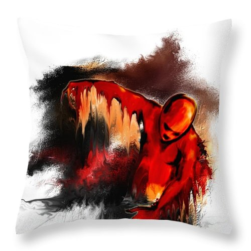 Red Man Passion Sureall Fire Throw Pillow featuring the digital art Red Man by Veronica Jackson