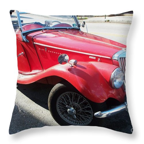 Red Throw Pillow featuring the painting Red Mg Antique Car by Eric Schiabor