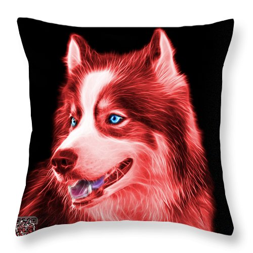Siberian Husky Throw Pillow featuring the painting Red Modern Siberian Husky Dog Art - 6024 - Bb by James Ahn