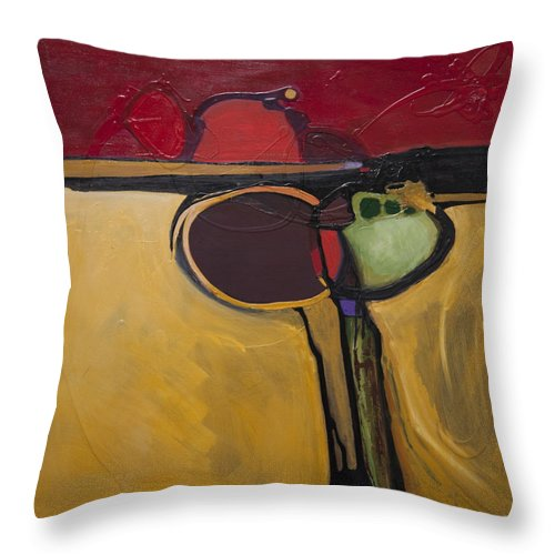 Abstract Throw Pillow featuring the painting Red Moon Rising by Marlene Burns