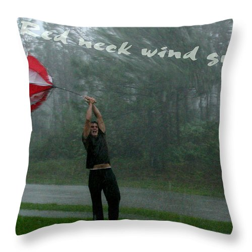 Redneck Throw Pillow featuring the photograph Red Neck Wind Guage by Joseph G Holland