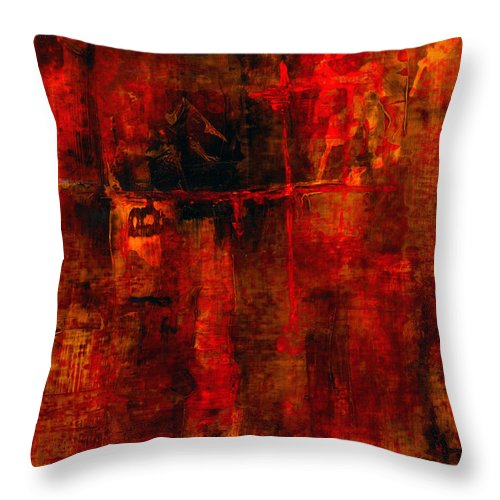 Abstract Painting Throw Pillow featuring the painting Red Odyssey by Pat Saunders-White