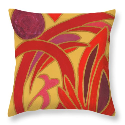Gold Throw Pillow featuring the painting Red On Gold II by Ania M Milo