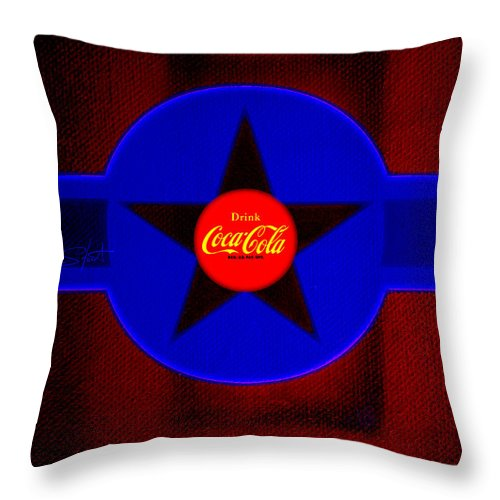 Label Throw Pillow featuring the painting Red On Red With Blue by Charles Stuart