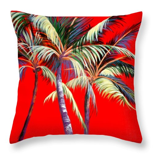 Palm Trees Throw Pillow featuring the painting Red Palms by Patricia Rachidi