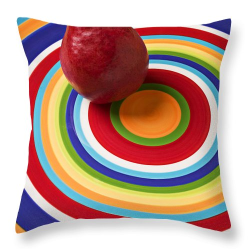 Red Pear Circle Plate Throw Pillow featuring the photograph Red Pear On Circle Plate by Garry Gay