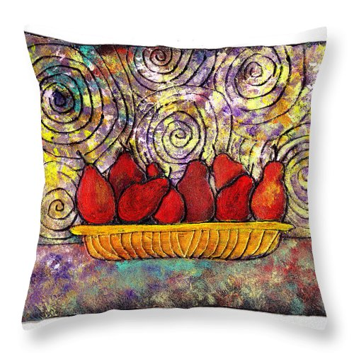 Spirals Throw Pillow featuring the painting Red Pears In A Bowl by Wayne Potrafka