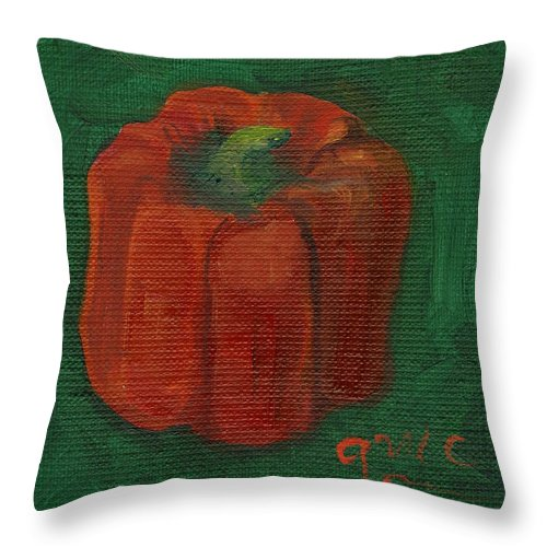 Red Throw Pillow featuring the painting Red Pepper On Linen by Gloria Condon