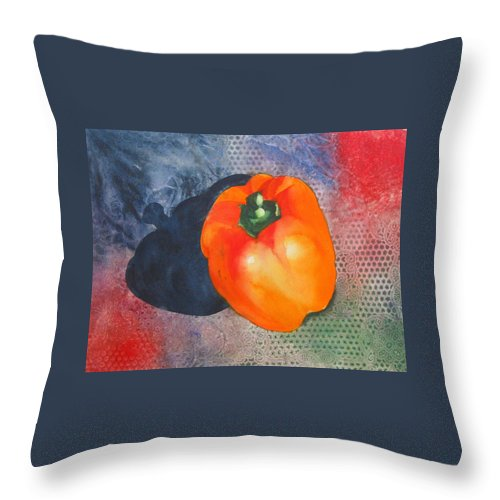 Pepper Throw Pillow featuring the painting Red Pepper Solo by Jean Blackmer
