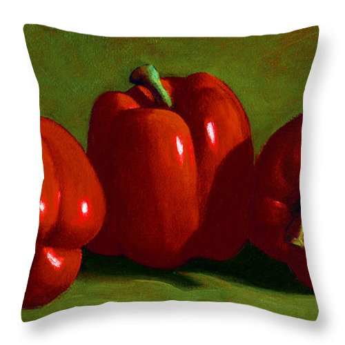 Red Peppers Throw Pillow featuring the painting Red Peppers by Frank Wilson