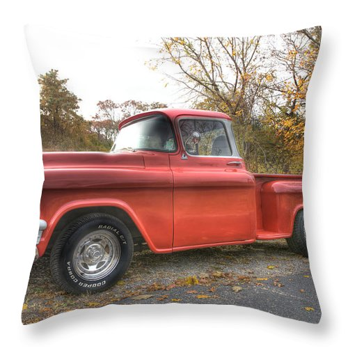 Gmc Pickup Truck Throw Pillow featuring the photograph Red Pick-up by Steve Gravano