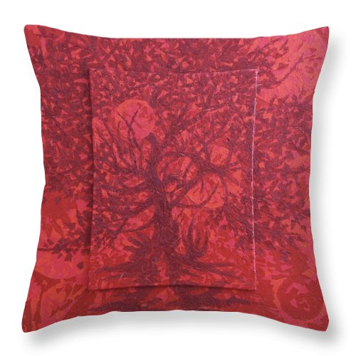 Red Throw Pillow featuring the painting Red Planet by Judy Henninger