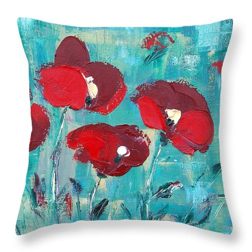 Red Throw Pillow featuring the painting Red Poppies 2 by Gina De Gorna