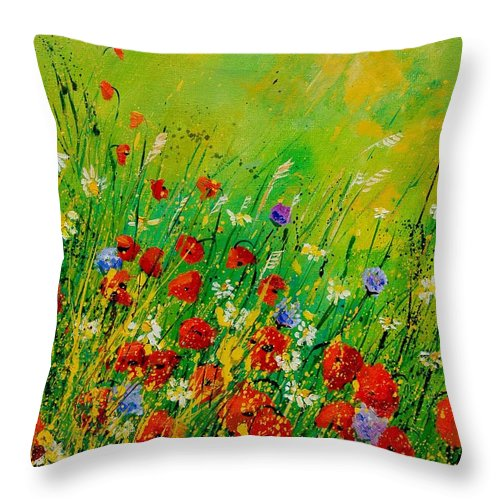 Flowers Throw Pillow featuring the painting Red Poppies 450708 by Pol Ledent